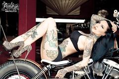 Makani Terror (2013) (THE PIXELEYE // Dirk Behlau) Tags: high model garage heels sexylegs custombikes 2013 tattoomodel dirkbehlau makaniterror