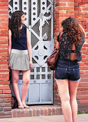 Photo fan and model (chrisk8800) Tags: barcelona life street city girls friends portrait people urban face lumix photography photo nice spain women pretty legs sandals candid models young picture curls stranger panasonic attractive denim shorts females g6 brunette  appealing minishorts street photography