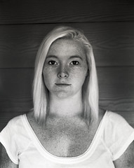 Freckles (Elise Weber) Tags: portrait white black film sarah self elise large ann 4x5 format weber develop loreth