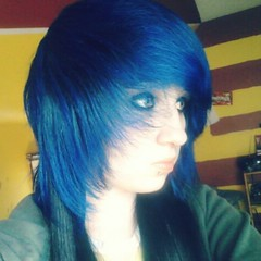 (Hannah Dropdead) Tags: blue cute girl colorful bluehair blackhair dyedhair scenehair colorfulhair scenefringe flickrandroidapp:filter=none hannahdropdead