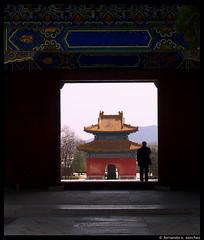 (Fernando X. Sanchez) Tags: china door blue light red building green architecture gate beijing olympus frame april mingtombs 2010 e500 fernandsanchez