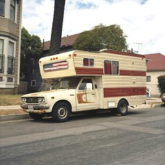Flag camper (ADMurr) Tags: 6x6 la kodak stripes flag midcity camper portra rolloi