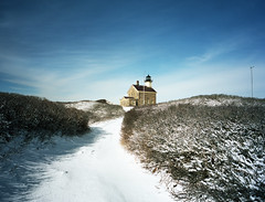 North Light - Block Island (neilsonabeel) Tags: ri winter light lighthouse snow 120 film mediumformat island day north rangefinder analogue 6x7 rhode blockisland mamiya7 kodakportra160 43mmlens pwwinter