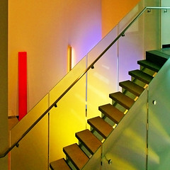 four edges (1crzqbn) Tags: color texture glass stairs reflections square shadows 7d pdx handrail refractions portlandartmuseum 1crzqbn fouredges