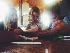 Colouring in a tattoo (mallix) Tags: family friends home tallulah tattoo kids friendship arm drawing weekend bruce gina westerncape swellendam overberg colouringin weekendaway