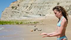 Lison (JSEBOUVI : thanks for 1.3 million views !) Tags: sky sun sol portugal girl sand holidays lagos l algarve plage 2014 portodemos 2mai2014 portodemsbeach