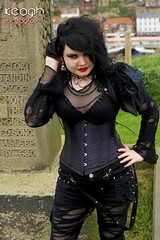 IMG_1880 (Neil Keogh Photography) Tags: black girl graveyard leather mesh boots goth fishnet jacket corset denim spikes rippedtights whitbygothweekend