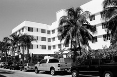 Art Deco Bancroft Hotel South Beach (Phillip Pessar) Tags: camera white black building slr art film beach architecture hotel minolta florida kodak miami tx south trix x 400 artdeco dynax tri deco bancroft sobe 303si
