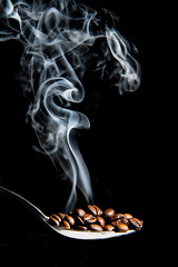 Roasting (le cabri) Tags: morning cactus stilllife food brown black kitchen coffee vertical closeup cafe drink smoke seed coffeeshop spoon bean gourmet heat espresso comfort caffeine addiction preparation roasting trigger strobe roasted elegance coffeebean smelling strobist cactusv6