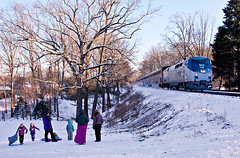 Amtrak.GarrettParkMD021715P029.4531 (jrm_rr) Tags: snow md maryland amtrak sledding sledriding capitollimited garrettpark p42dc p030 amtk174