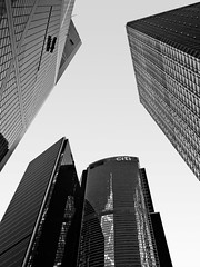 Hong Kong Skyscrapers BW (perryge) Tags: sky urban blackandwhite hongkong skyscrapers business bankofchinatower finance cheungkongcenter cititower