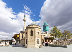 Mevlana Museum, Turkey (Nejdet Duzen) Tags: road travel building green tower tourism grave wall museum architecture turkey town worship dancing minaret muslim islam faith prayer religion pray tomb mosque tourist east holy mausoleum dome ottoman middle sufi turkish dervish islamic anatolia rumi konya mevlevi mevlana