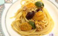 Spaghetti alla puttanesca con pomodorini gialli del Piennolo (RicetteItalia) Tags: spaghetti cucina ricette piennolo