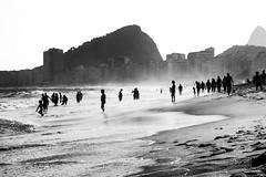 Copacabana (C!) Tags: ocean street travel sea people blackandwhite brasil riodejaneiro copacabana