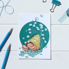 Feeling Crabby Postcard (jac.cheekymonkeystudio) Tags: ocean sea painting drawing wildlife postcard nursery crab watercolour decor hermit marineanimals affordableart nurserydecor nurseryart brinyblue