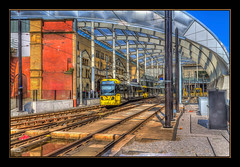 Manchester Victoria (Kevin From Manchester) Tags: england building architecture manchester northwest outdoor colorfull transport trains railwaystation trams citycentre hdr victoriastation canon1855mm railwaylines kevinwalker canon1100d