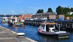 Felix + Christian + Alfie (1) @ KGV Lock 04-07-16 (AJBC_1) Tags: kgvlock kinggeorgevlock gallionspoint northwoolwich newham londonboroughofnewham royaldocks londonsroyaldocks eastlondon docklands london england uk livettsgroup bennettsbarges pushertug tug tugboat boat vessel felix christian ©ajc dlrblog nikond3200 workboat alfie navtug18ts navconsult schramm group