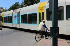 Somewhere near Athens (zerarcool) Tags: train oldman athens bycicle