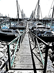 Like you were walking onto a yacht (Steve Taylor (Photography)) Tags: blue shadow newzealand white black art water sunshine silhouette digital boat rocks yacht g sunny chainlink walkway nz southisland mast railing selectivecolour monocolor monocolour carlysimon youresovain yoursovain