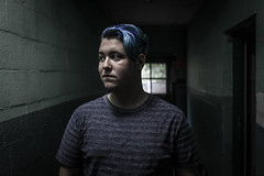 Blue Hair (Evan's Life Through The Lens) Tags: camera friends light 2 two urban house building abandoned weather contrast forest dark fun grey woods day break gloomy mark grunge clarity adventure explore ii 5d enter exploration mk ware urbex