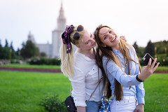 Girls in front of Moscow State University (Sheng P.) Tags: ladies girls summer zeiss russia moscow sony 55mm a7 selfie    sonnartfe1855