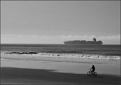 Transportation (Nightgoose) Tags: praia ship bicicleta ciclista seashore litoral navio byke cirpl exposurex panasoniclumixdmclx100 captureonepro9