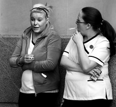 Smoke Break 1 (tezzer57) Tags: street ireland urban blackandwhite bw dublin women candid smoking