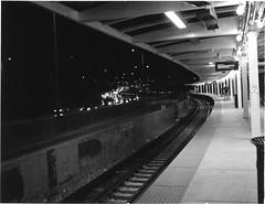 Addison Blue ([jonrev]) Tags: camera blue chicago film car station night subway polaroid lights cta traffic empty rail line 94 transit land instant expressway addison kennedy 195 fp3000b
