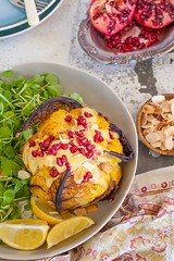 Whole roasted cauliflower head in a Tahini and Ras El Hanout Sauce {vegan + gluten free} (Le Delicieux) Tags: food recipe photography foodies styling