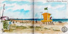 Playa de El Prat (Fotero) Tags: watercolor mar playa acuarela dibujo usk salvavidas cuaderno caseta elprat urbansketching urbansketch urbansketcher cuaderno9