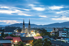 Chanthaburi Cathedral in the Center of Old Town (baddoguy) Tags: longexposure mountain horizontal architecture dark thailand outdoors photography community cityscape cathedral religion overcast nopeople spirituality copyspace dramaticsky oldtown elegance urbanskyline tranquilscene thaiculture traveldestinations colorimage famousplace locallandmark buildingexterior nationallandmark templebuilding builtstructure