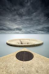 The BIG Drain (CResende) Tags: geometric portugal water clouds big hole dam drain allegory alentejo mythical montedarocha cresende