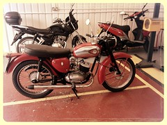 Bantam patiently waiting for the MOT tester! (Jags_London) Tags: motorcycle british bsa bantam d7 uploaded:by=flickrmobile flickriosapp:filter=aardvark aardvarkfilter