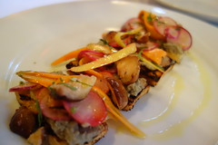 Bruschetta with Pickled Radish & Carrot -  intermezzo - A Mano - Warehouse District - New Orleans, LA (Paul Broussard NOLA) Tags: neworleans restaurants warehousedistrict carrots radish bruschetta amano rx100 sonyrx100 paulbroussard
