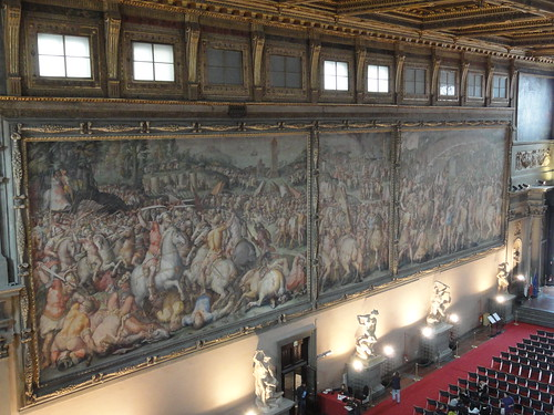Frescoes on wall of Salone di Cinquecento