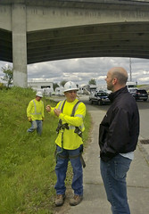 PSE crews on site of Interstate 5 bridge collapse over the Skagit River (Puget Sound Energy) Tags: usa electric power unitedstates i5 failure wash collapse skagit pse interstate5 skagitriver pugetsoundenergy skagitriverbridge