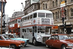 SRM13, Silver Jubilee Routemaster, June 1977 (David Rostance) Tags: routemaster srm13 rm1648 648dye londontransport london silverjubilee car fordcapri fordescort citroends dms fleetline thestrand route1a