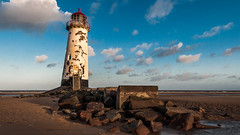 Talacre Lighthouse at Sunset (redddraggon) Tags: uk sunset lighthouse beach wales clouds seaside nikon north talacre d90