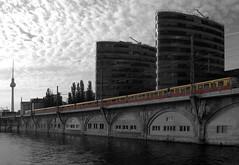Trias_001 (pXelbre! by LTX) Tags: sky reflection berlin water architecture clouds river wasser publictransportation himmel wolken viaduct architektur fernsehturm lightrail sbahn fluss spree spiegelung tvtower trias colorkey viadukt