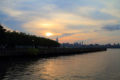 (pmarella) Tags: park morning trees sky urban usa water skyline clouds sunrise reflections river landscape newjersey cityscape shadows whatever viewlarge pmarella metropolis hudsonriver empirestatebuilding empirestate tranquil hoboken donttrythisathome amomentintime onthewaterfront dancinginthedark anotherdayinparadise throughmyglasseye sigma1770mm riverviewpkproductions icoverthewaterfront myeyeshaveseenthis eos7d
