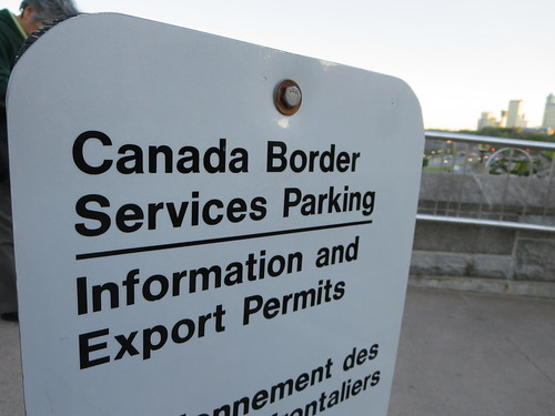 Canada, U S A  Border station services parking - a photo on