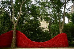 On our way to Shake Shack.. (KatieWhitaker) Tags: park nyc newyorkcity trees red summer ny newyork green texture nature nikon state bright manhattan vibrant curves vivid wave rope eastcoast madisonsquare
