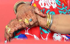 Henna-hands (popEstatesPhotography) Tags: blue wedding red tattoo asian gold bride hands indian fingers marriage jewellery pakistani henna bodyart mehndi 18200mmf3556gvrii