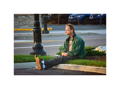 (Luis_maldonado) Tags: street summer newyork man color green grass digital nikon shoes space longisland pole jacket thinking stare seated soles nikond5200