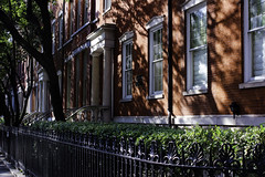 Row of Red Townhomes in NYC (Georgina Gomez Photography) Tags: buildings townhomes newyorkbuildings