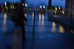 2013-09-27: Evening Rush (psyxjaw) Tags: bridge blue autumn holiday man walking evening crossing sweden stockholm september rush commute
