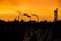 Sunrise over railroad (JayPiDee) Tags: sunrise germany deutschland pentax hamburg sigma eisenbahn railway sonnenaufgang germania amburgo eisenbahnschienen k30 favescontestwinner favescontestrunnerup favescontestfavoriteson favescontesttopseed favescontestfavored darkhorsewinner sigma18250dcmacro sigma18250mmf3563dcmacro
