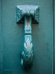 fleur de knocker (DMotown) Tags: door blue france green metal aqua aquamarine knocker villefranche doorknocker torquoise