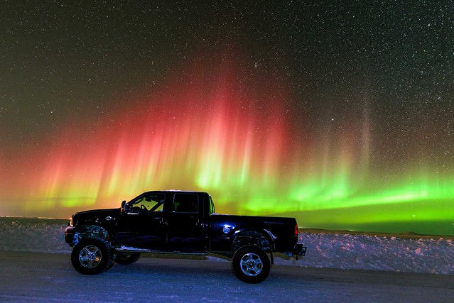 world ocean winter sky snow canada ford ice night dark stars landscape lights nikon nightscape northwest space alien nwt arctic aurora february northern universe nocturne territories borealis f350 2014 tuktoyaktuk truckporn savillent d800e