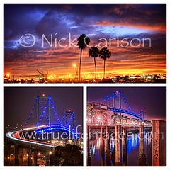 San Pedro Harbor - Morning and Night (Nick  Carlson) Tags: california longexposure bridge cali night sunrise losangeles southerncalifornia southbay hdr sanpedro laharbor vincentthomasbridge nickcarlson truelifeimages harborarea uploaded:by=flickrmobile flickriosapp:filter=nofilter